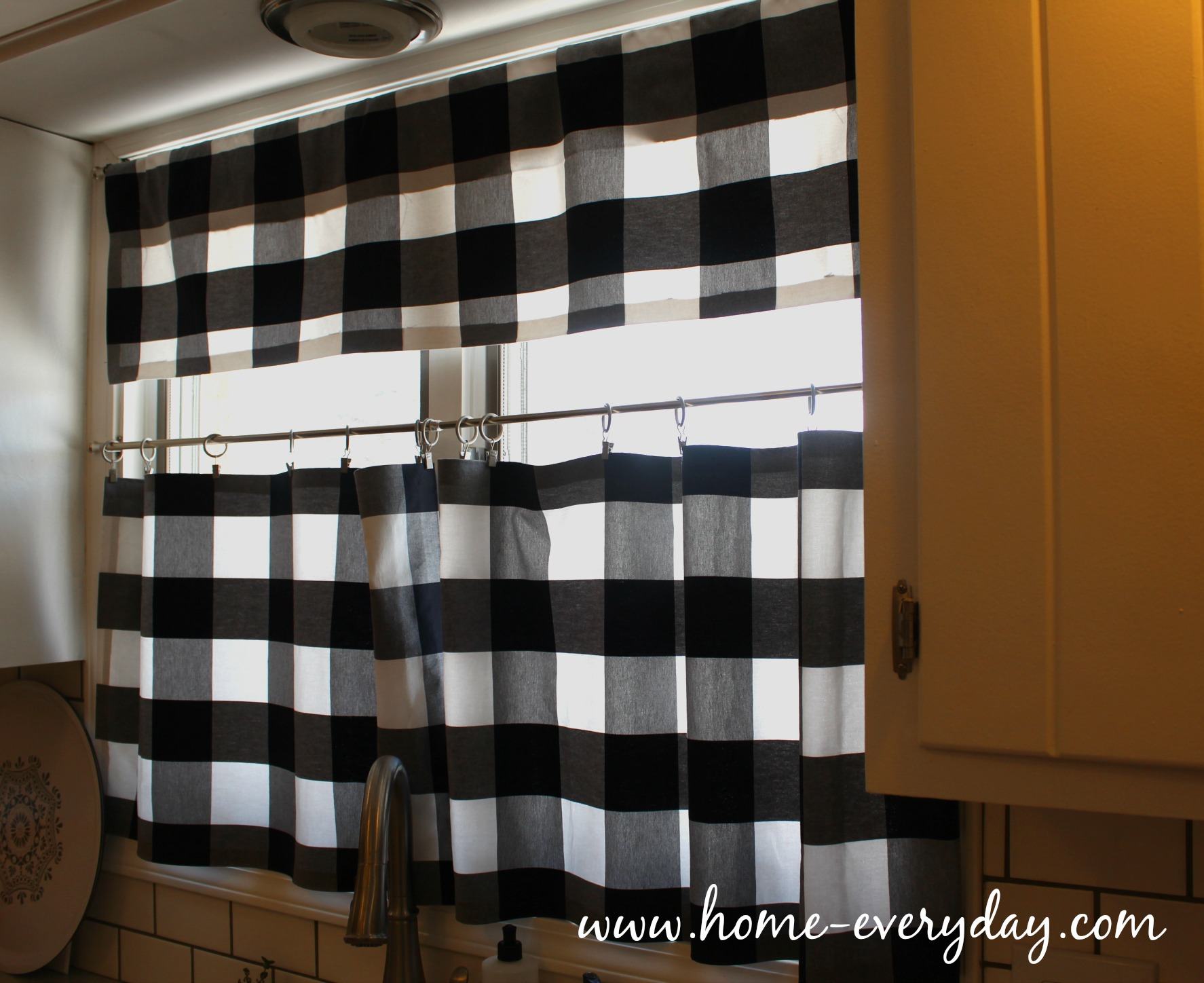Black and white checked curtains - Kitchen Curtains Black And White 8